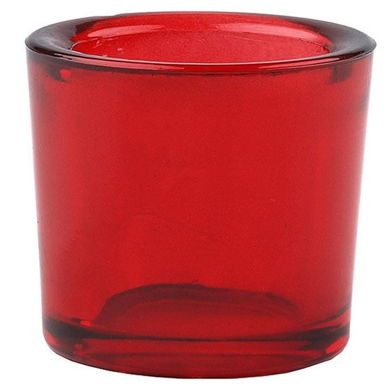 Red recycled glass candle holder
