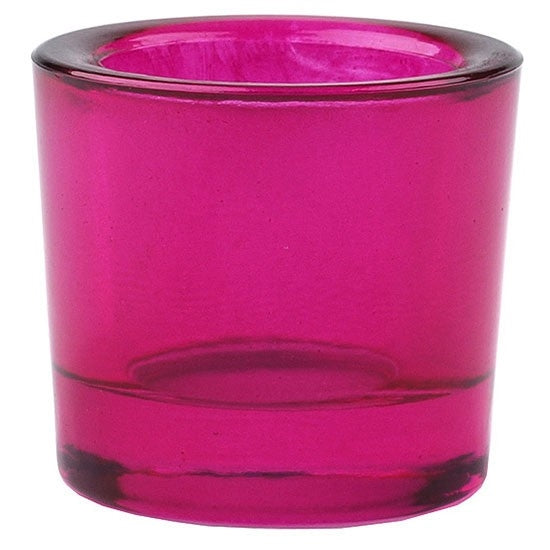 Fuchsia recycled glass candle holder