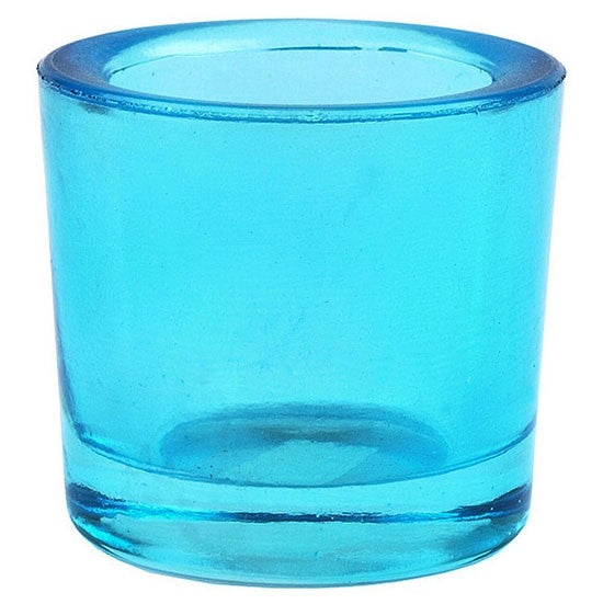 Aqua recycled glass votive candle holder.