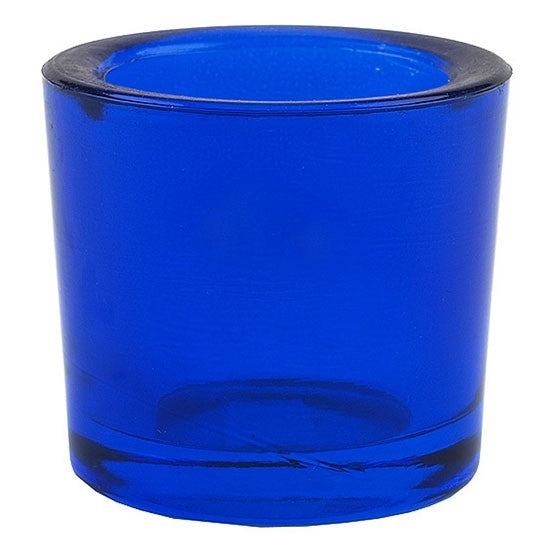 Cobalt blue recycled glass candle holder. Holder is an ideal fit for Bluecorn Beeswax Votives.
