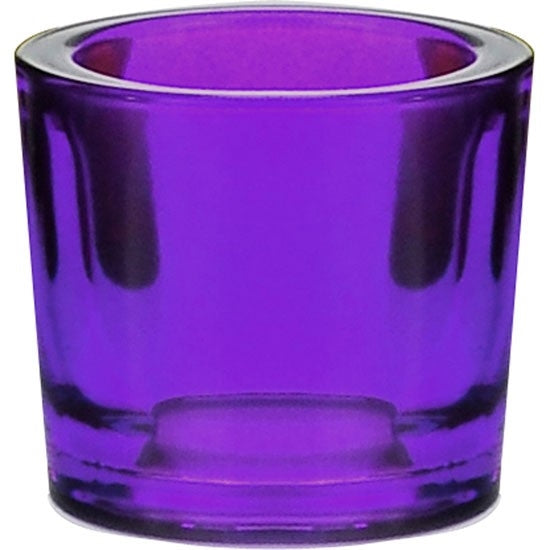 Violet recycled glass candle holder