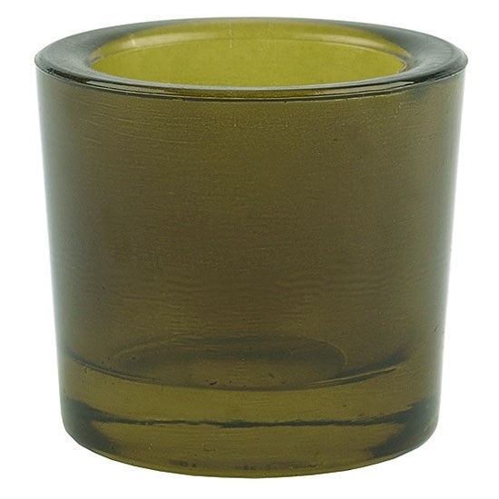 Olive green recycled glass votive candle holder