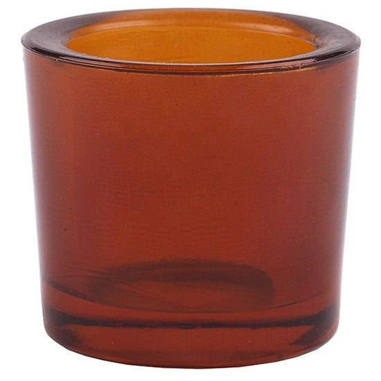 Dark amber recycled glass beeswax votive candle holder