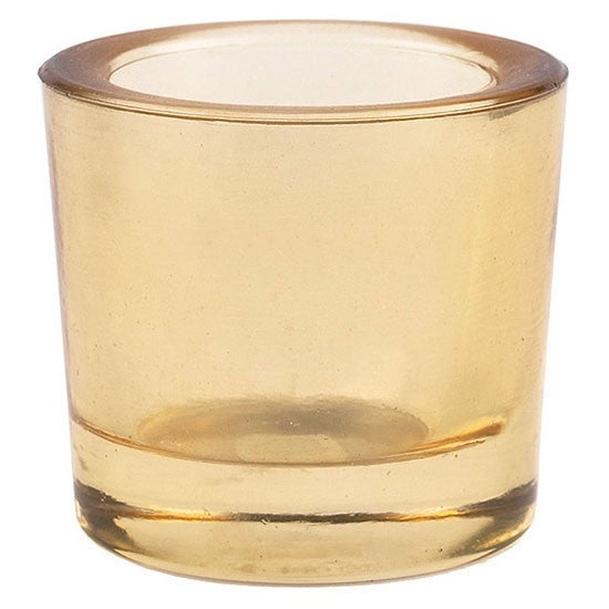 Whiskey (light amber) colored recycled glass votive candle holder