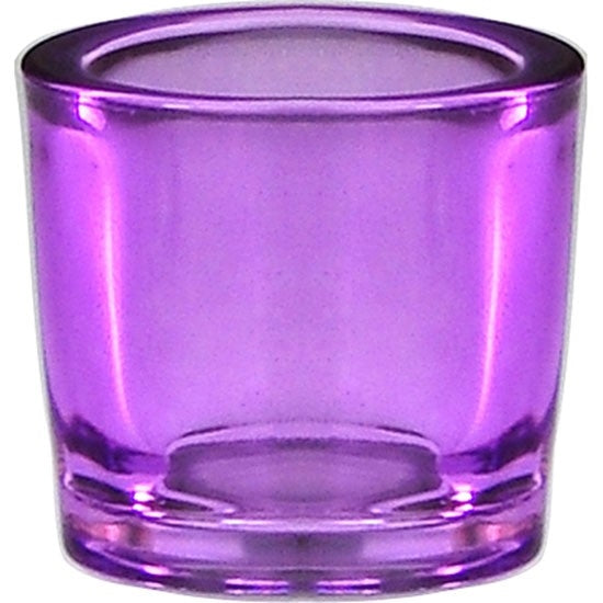 Lilac-colored recyceld glass candle holder.
