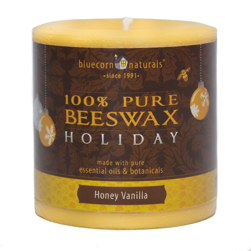 Holiday Beeswax - Pillar Candle - Clearance