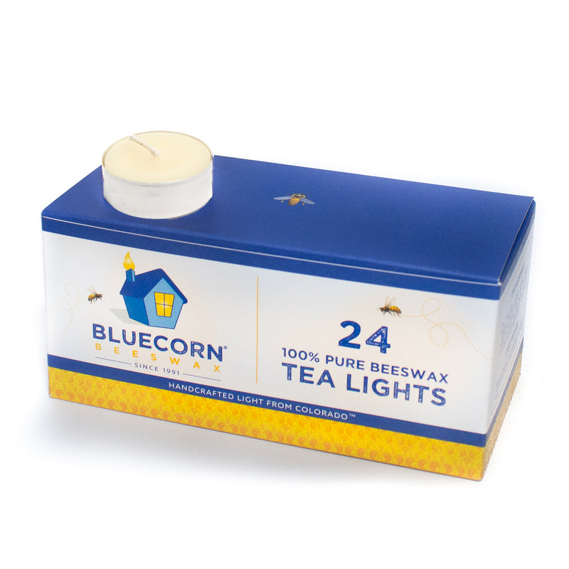 Ivory Bluecorn Beeswax Tea Lights. Bulk 24-pack of white candles. 100% pure beeswax, hand-poured into recyclable holders. Handmade in Colorado. These premium quality candles burn for 5 hours.