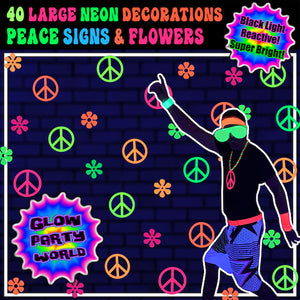 Peace & Flower, 60s Party Decorations, Hippie theme