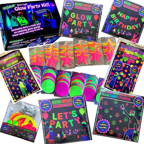 Epic Glow in the Dark Party Bundle - Black Light party pack with lights & decorations
