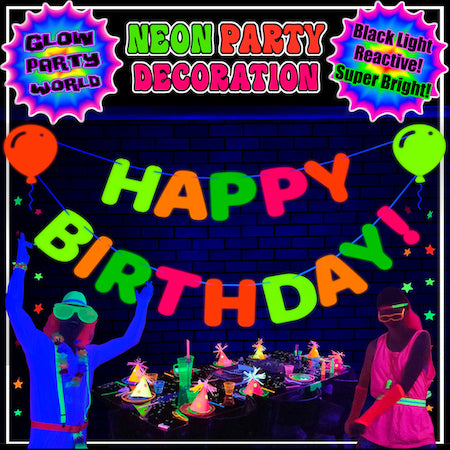 Neon Happy Birthday Hanging Letter Banner with Balloon Cutouts
