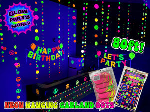 Neon Dot Garland 80ft. UV reactive! Glow Party Decorations