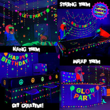 Load image into Gallery viewer, Neon Stars Garland 80ft. Black light reactive. Glow Party Supplies.