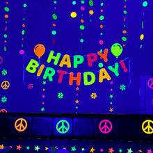 Load image into Gallery viewer, Neon Happy Birthday Hanging Letter Banner with Balloon Cutouts