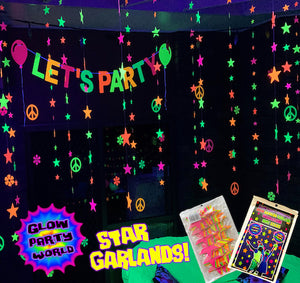 Neon Stars Garland 80ft. Black light reactive. Glow Party Supplies.