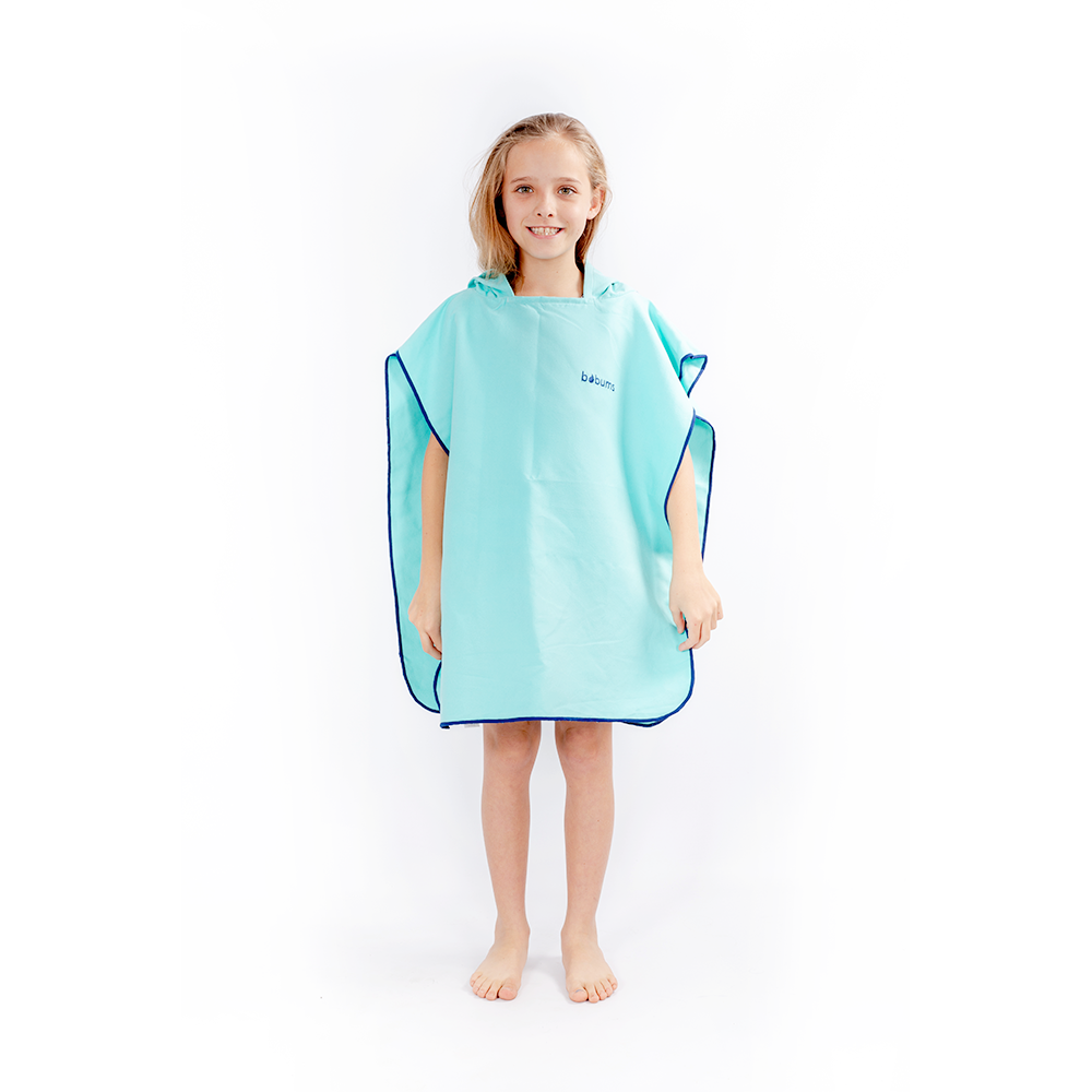 Microfibre Kids Afterswim Hoodie - Neon light Blue / Navy