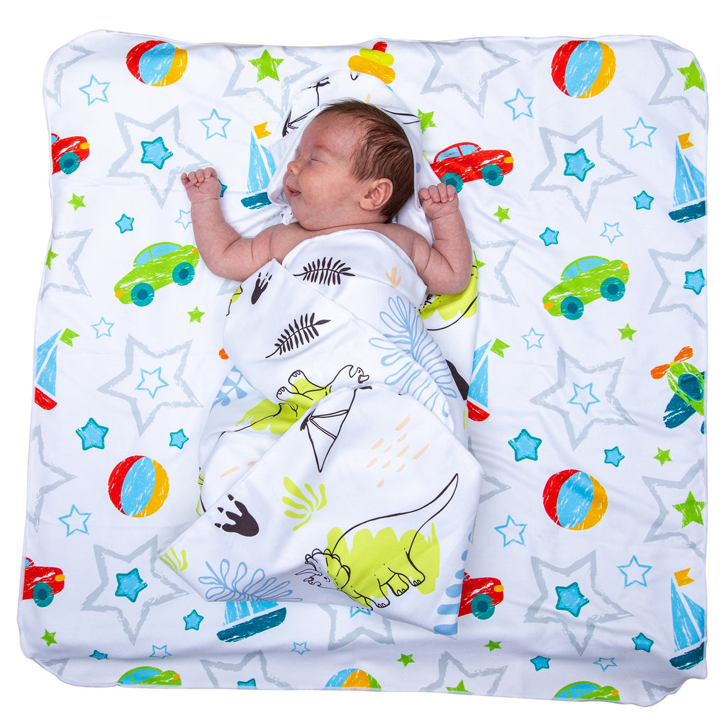 Microfibre Hooded Baby Towel - Dino / Car & beach ball