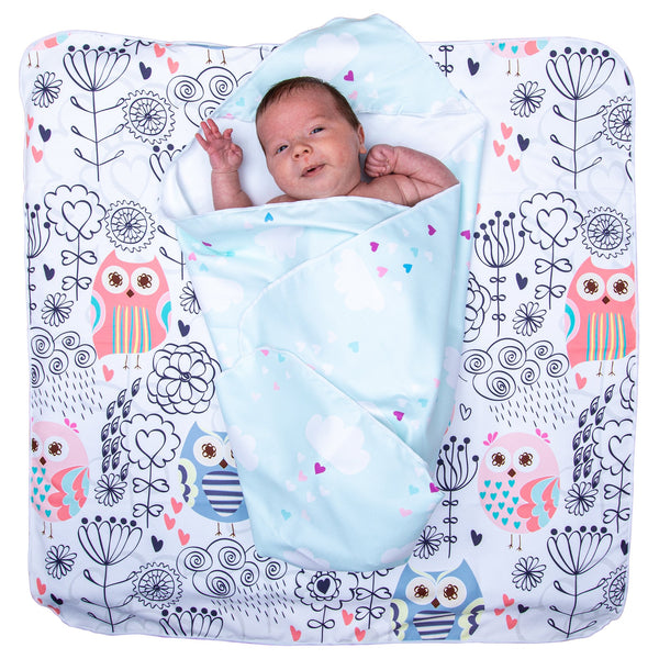 Microfibre Hooded Baby Towel - Cloud Rain / Owl crazy