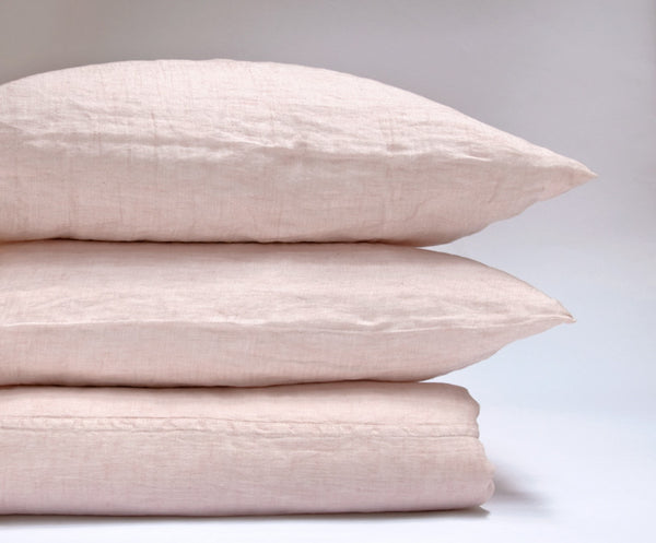 Camille pink linen sheets