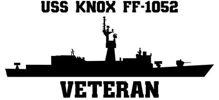 USS Knox FF-1052 Veteran Vinyl Sticker  USS Knox FF-1052 was the lead ship of her class of U.S. Navy destroyer escorts. The USS Knox was named for Commodore Dudley Wright Knox, and was the second US Navy ship bearing the name Knox.