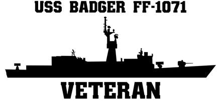 USS Badger FF-1071 Veteran Vinyl Sticker