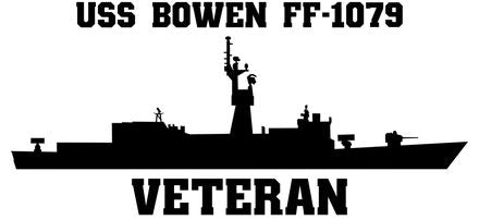 USS Bowen FF-1079 Veteran Vinyl Sticker  USS Bowen FF-1079 was the 28th KNOX class U.S. Navy frigate