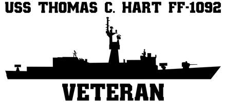 USS Thomas C. Hart FF-1092 Veteran Vinyl Sticker  USS Thomas C. Hart FF-1092 was the 41st KNOX - class U.S. Navy frigate.