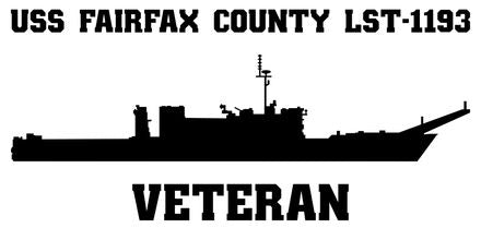 USS Fairfax County LST-1193 Veteran Vinyl Sticker
