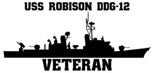 USS Robison DDG-12 Veteran Vinyl Sticker  USS Robison DDG-12 was the eleventh ship in the CHARLES F. ADAMS - class of U.S. Navy guided missile destroyers and was the first ship in the U.S. Navy to bear the name.