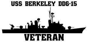 USS Berkeley DDG-15 Veteran Vinyl Sticker  USS Berkeley DDG-15 was the 14th CHARLES F. ADAMS - class U.S. Navy guided missile destroyer.