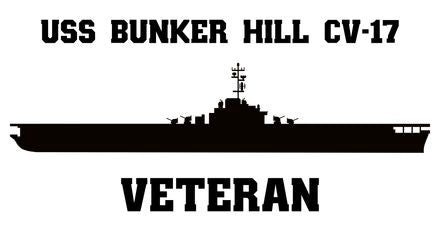 USS Bunker Hill CV-17 Veteran Vinyl Sticker