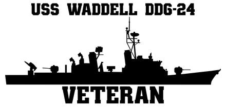 USS Waddell DDG-24 Veteran Vinyl Sticker  USS Waddell DDG-24 was the 23rd and last ship in the CHARLES F. ADAMS - class of U.S. Navy guided missile destroyers.