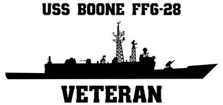 USS Boone FFG-28 Vinyl Veterans Sticker  USS Boone FFG-28 was the 20th frigate in the PERRY class U.S. Navy Frigates and the second long-hull version in that class.