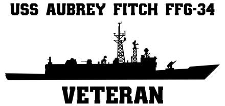 USS Aubrey Fitch FFG-34 Vinyl Sticker  USS AUBREY FITCH was the 26th OLIVER HAZARD PERRY - class U.S. Navy guided missile frigate and the first ship in the U.S. Navy to bear the name.