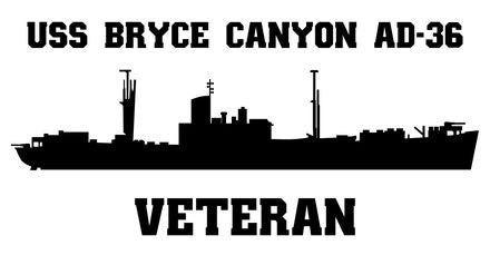 USS Bryce Canyon AD-36 Veteran Vinyl Sticker