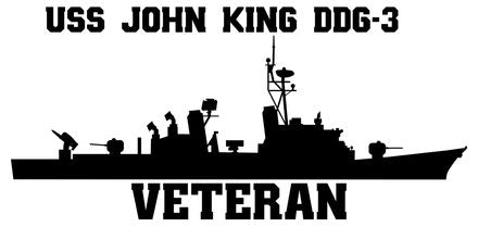 USS John King DDG-3 Veteran Vinyl Sticker