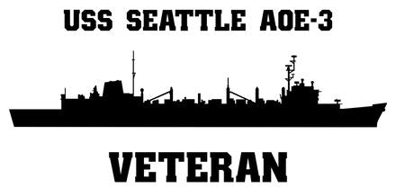 USS Seattle AOE-3 Veteran Vinyl Sticker  USS Seattle AOE-3 was the last but one SACRAMENTO - class U.S. Navy Fast Combat Support Ship.