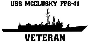 USS McClusky FFG-41 Vinyl Sticker  USS McClusky FFG-41 was one of the Oliver Hazard Perry - class U.S. Navy guided missile frigates and the first ship in the U.S. Navy to bear the name.