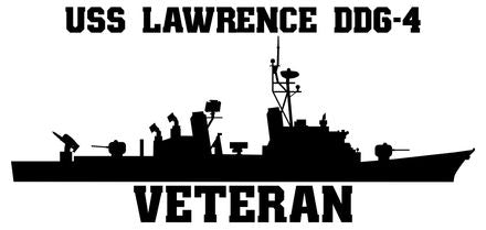 USS Lawrence DDG-4 Veteran Vinyl Sticker