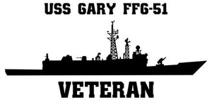"USS Gary FFG-51 Vinyl Sticker  USS Gary FFG-51 was one of the ""long hull"" versions in the OLIVER HAZARD PERRY - class U.S. Navy frigates and the first ship in the Navy named after Commander Donald A. Gary."