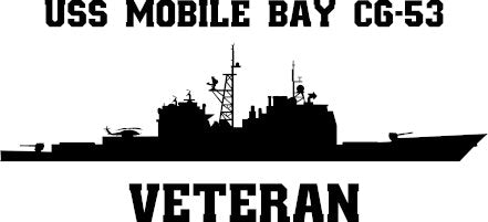 USS Mobile Bay CG-53 Veteran Vinyl Sticker  USS Mobile Bay CG-53 is the seventh ship in the TICONDEROGA - class of U.S. Navy guided missile cruisers and the second ship in the class equipped with the Mk 41 VLS.