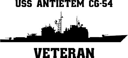 USS Antietam CG-54 Veteran Vinyl Sticker  USS ANTIETAM is the eighth ship in the TICONDEROGA - class of U.S. Navy guided missile cruisers and the third ship in the Navy to bear the name.