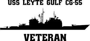 USS Leyte Gulf CG-55 Veteran Vinyl Sticker  USS Leyte Gulf CG-55  is one of the 27 TICONDEROGA - class U.S. Navy guided missile cruisers and is named after the location in the Pacific Ocean where two battles between the American fleet and Japanese fleet were fought during World War II.