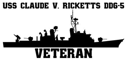 USS Claude V. Ricketts DDG-5 Veteran Vinyl Sticker
