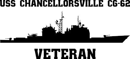 USS Chancellorsville CG-62 Veteran Vinyl Sticker  USS Chancellorsville CG-62  is the 16th U.S. Navy guided missile cruiser in the  TICONDEROGA - class U.S. Navy cruisers