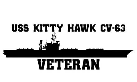 USS Kitty Hawk CV-63 Veteran Vinyl Sticker
