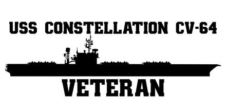 USS Constellation CV-64 Veteran Vinyl Sticker  USS Constellation CV-64 was the second ship in the KITTY HAWK - class U.S. Navy carrier and the third ship in the U.S. Navy to bear the name.
