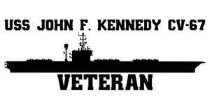 USS John F. Kennedy CV-67 Veteran Vinyl Sticker  USS John F. Kennedy CV-67 The USS JOHN F. KENNEDY was the last conventionally-powered aircraft carrier built by the U.S. Navy