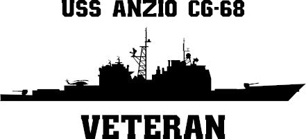 USS Anzio CG-68 Veteran Vinyl Sticker  USS ANZIO is the 22nd TICONDEROGA - class U.S. Navy guided missile cruiser and the second ship in the US Navy to bear the name.