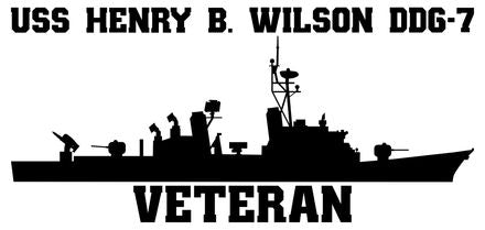 USS Henry B. Wilson DDG-7 Veteran Vinyl Sticker  USS Henry B. Wilson DDG-7 was the sixth CHARLES F. ADAMS - class U.S. Navy guided missile destroyer and the first ship in the U.S. Navy named after Admiral Wilson.