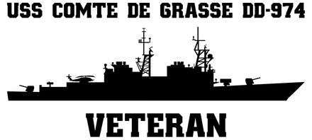 USS Comte De Grasse DD-974 Veteran Vinyl Sticker  USS Comte De Grasse DD-974 was the twelfth ship in the SPRUANCE - class U.S. Navy destroyer and was the third ship to bear the name of the famous French Admiral Francois Joseph Paul DeGrasse.